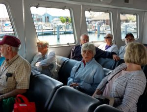 The inside cabin of Shepler's Ferry. Many rode on the top deck despite the wind as the ferry sped across the water to the island.
